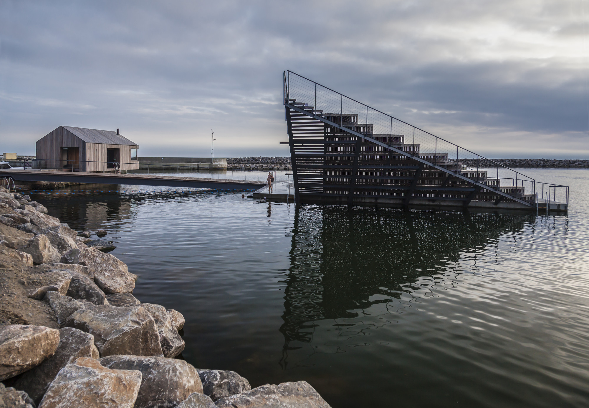 Photo of Hasle Harbour Bath by White architects. Photo Credit: Signe Find Larsen.